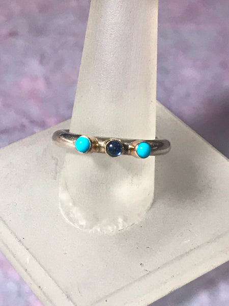 Sterling & 14K Gold Turquoise & Sapphire Ring