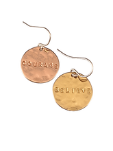 Yellow & Rose Gold Vermeil Mix & Match Hammered Disc Word Earrings