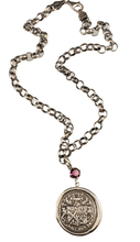 "16"" Sterling Silver Crest Royalty Necklace with Rhodolite Garnet"