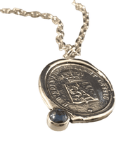 "18"" Sterling Silver Heavy Crest Necklace with Blue Sapphire"