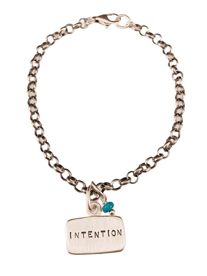 Intention Sterling Silver Tag Charm Bracelet with Turquoise Drop