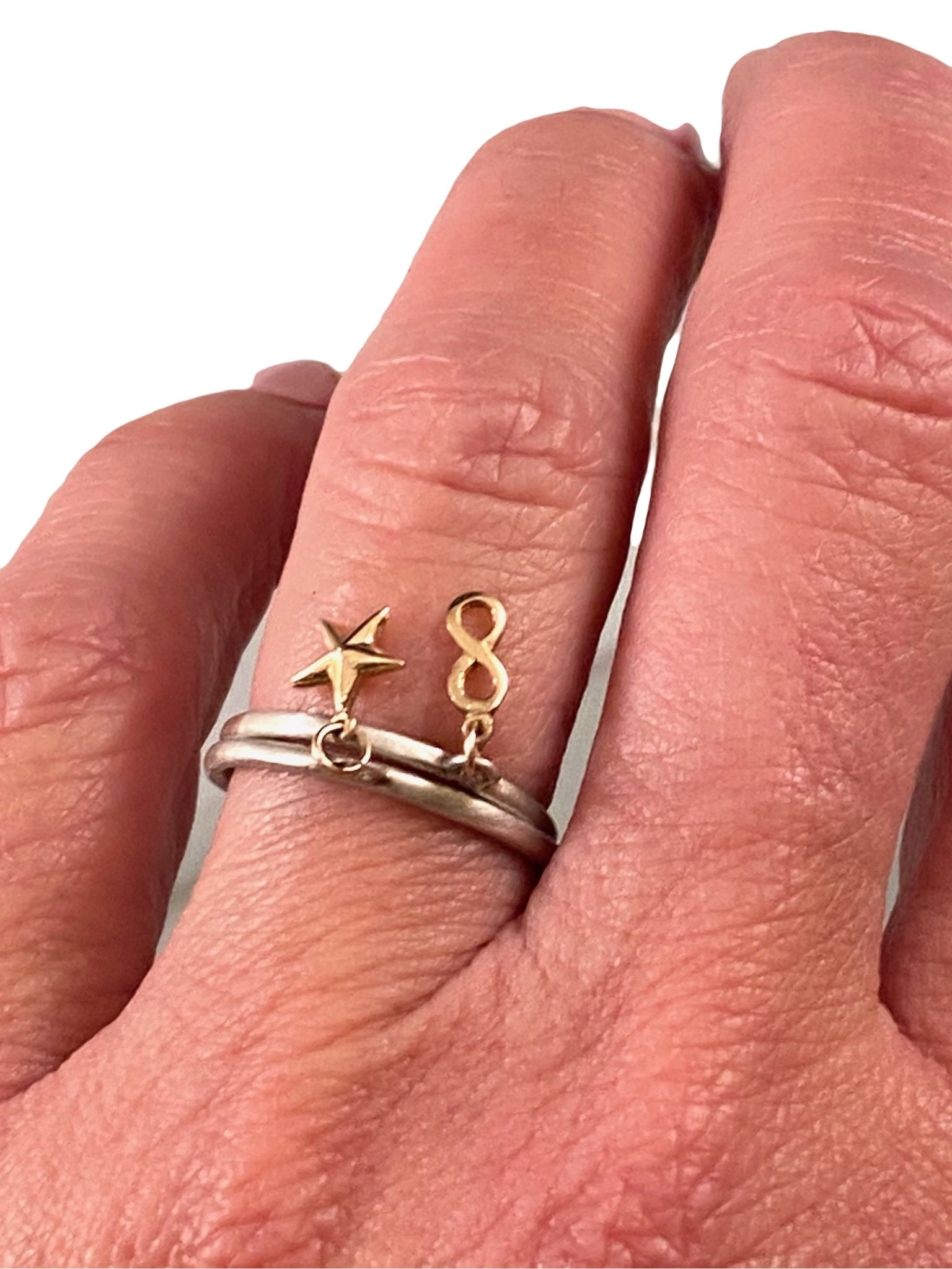 Sterling & 14K Gold Tiny Infinity Charm Ring