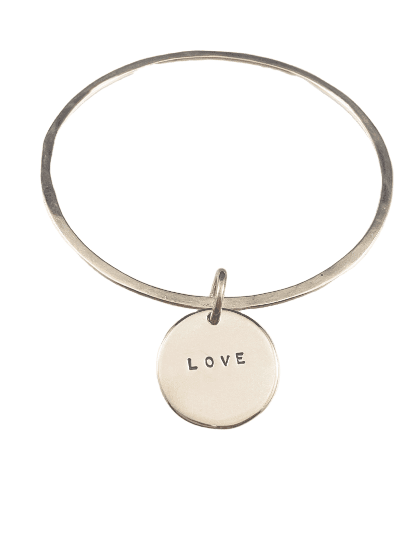 Hammered Bangle Bracelet with Charm