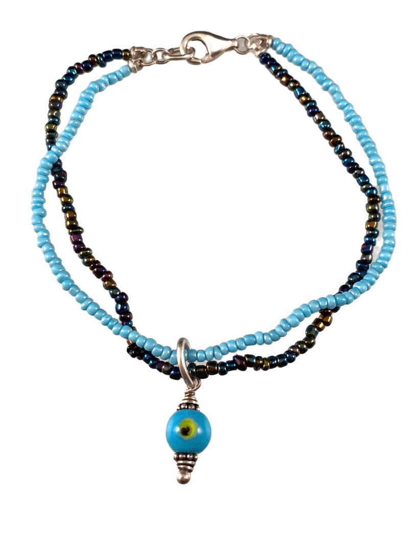 Evil Eye Turquoise Glass Double Strand Beaded Bracelet