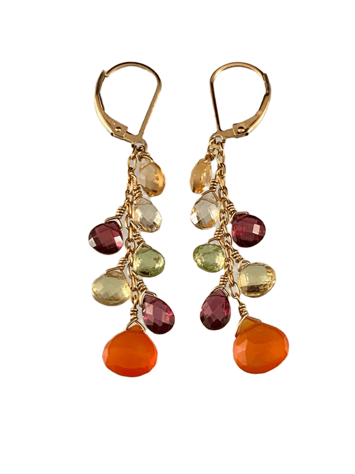 #224 Carnelian Peridot Garnet Citrine Yellow Gold Waterfall Gemstone Earrings