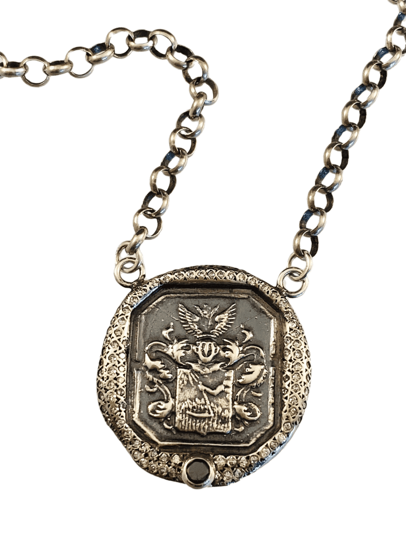 "18"" Sterling Silver Square Oxidized Crest with Diamonds"