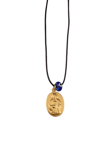 Yellow Gold Miraculous Jesus Medal on Black Cord with Evil Eye Necklace