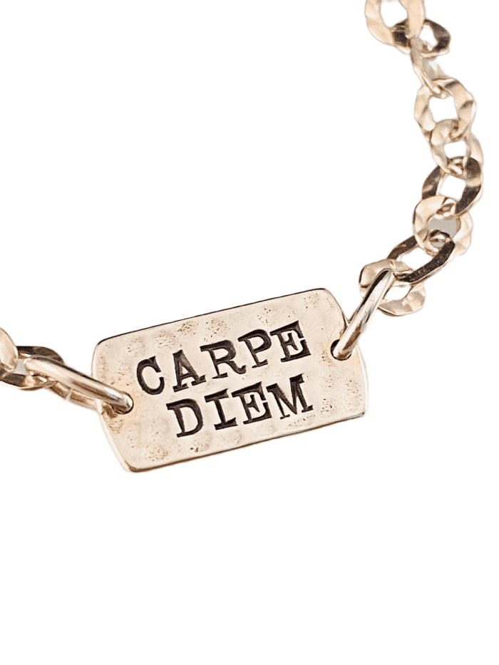 'Carpe Diem' Sterling Hammered Tag ID Bracelet