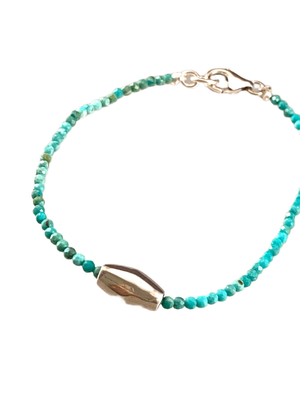 #1009 Faceted Turquoise Sliding Sterling Bead Bracelet