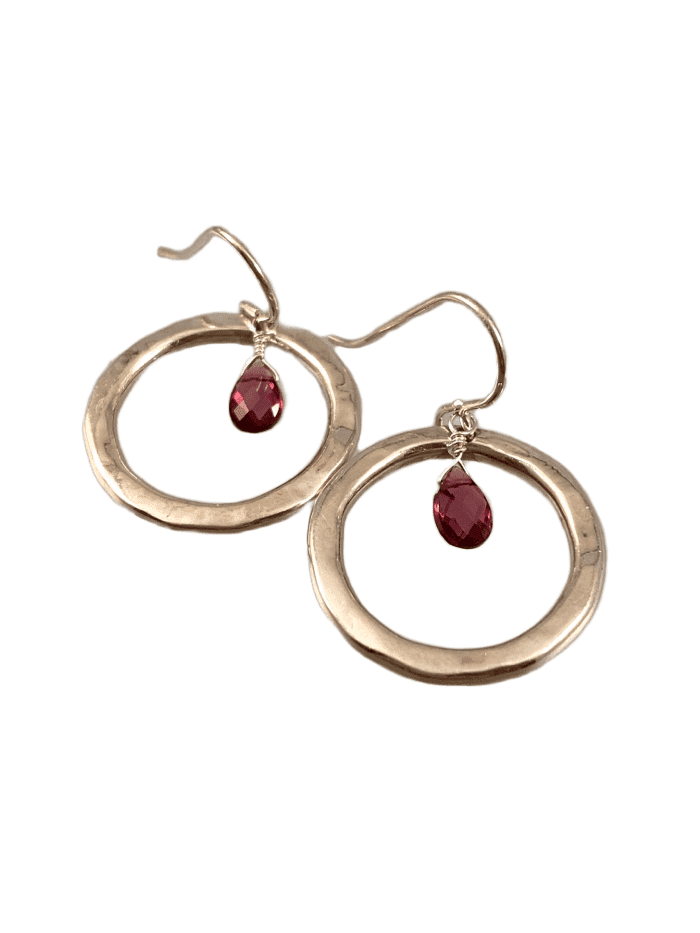 Sterling Hammered Circle Garnet Drop Earrings