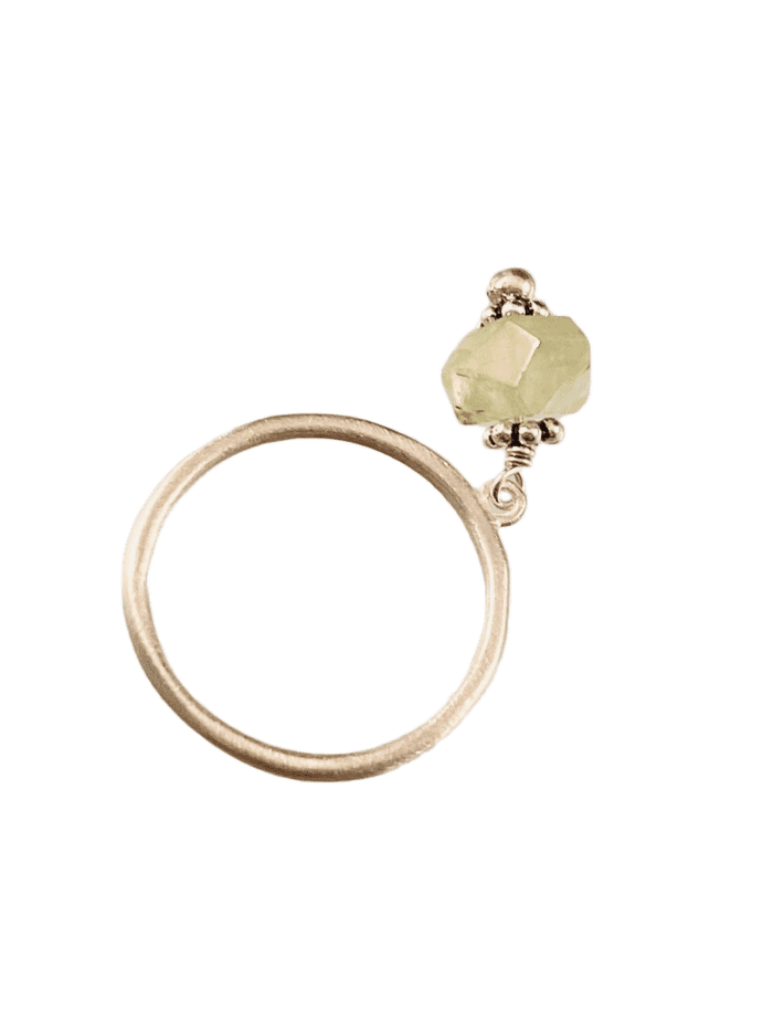 Sterling & Prehnite Gem Charm Ring Size