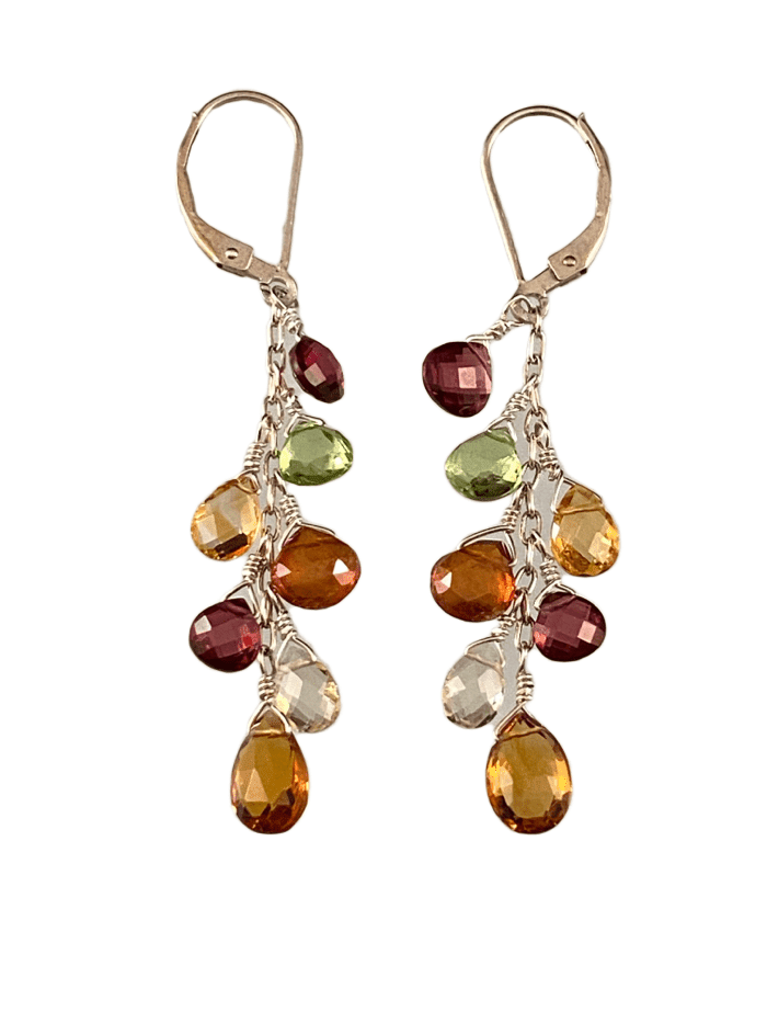 #232 Garnet Topaz Lemon Quartz Citrine Peridot Silver Waterfall Gemstone Earrings