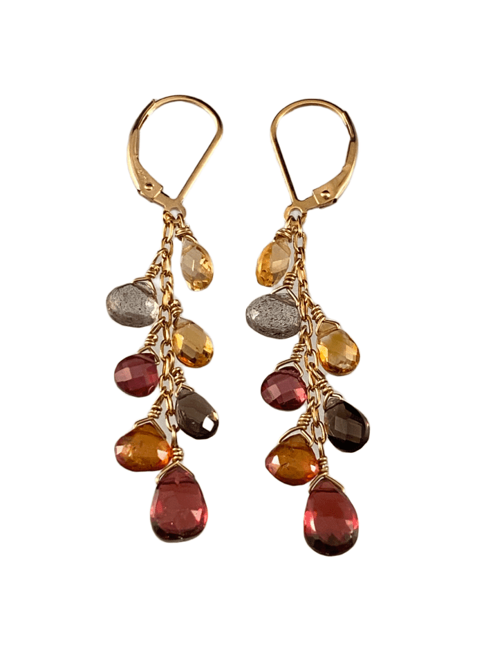 #226 Garnet Citrine Smokey Quartz Yellow Gold Waterfall Gemstone Earrings