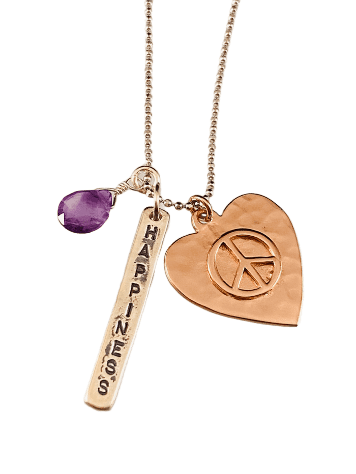 "16"" Sterling & Rose Gold Peace Heart Charm Necklace with Amethyst"