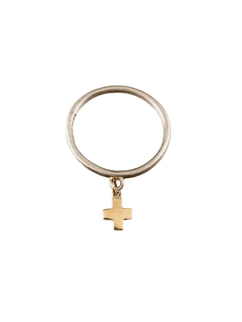 Sterling & 14K Gold Tiny Cross Charm Ring