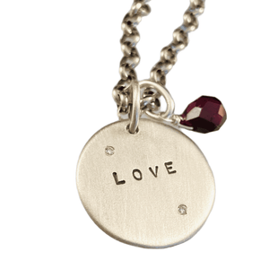 """18"""" Sterling Love Diamond Charm Necklace with Garnet"""