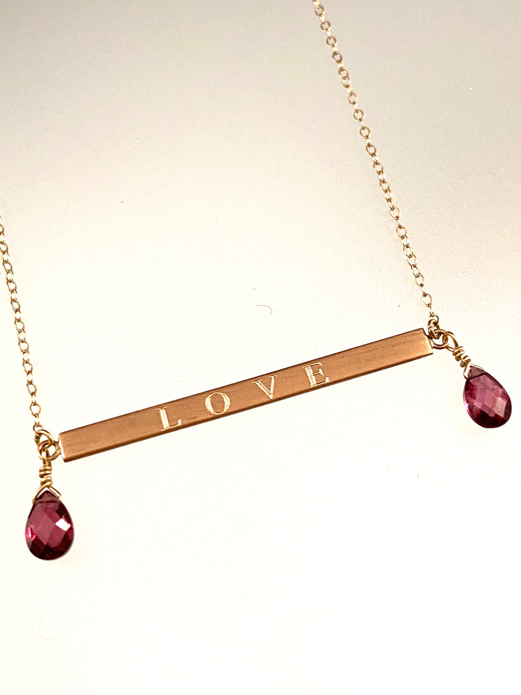 "18"" 14k Rose Gold ID Necklace with Garnet"