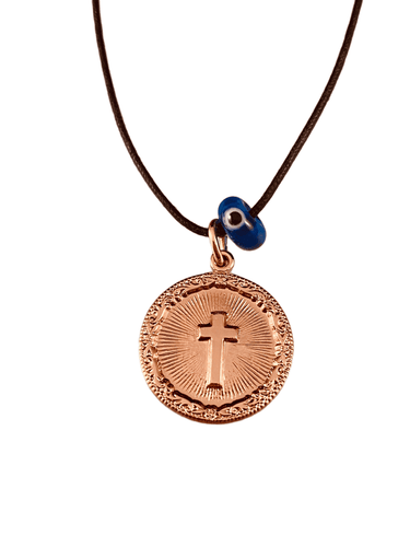 Rose Gold Miraculous Cross Medal on Black Cord with Evil Eye Necklace