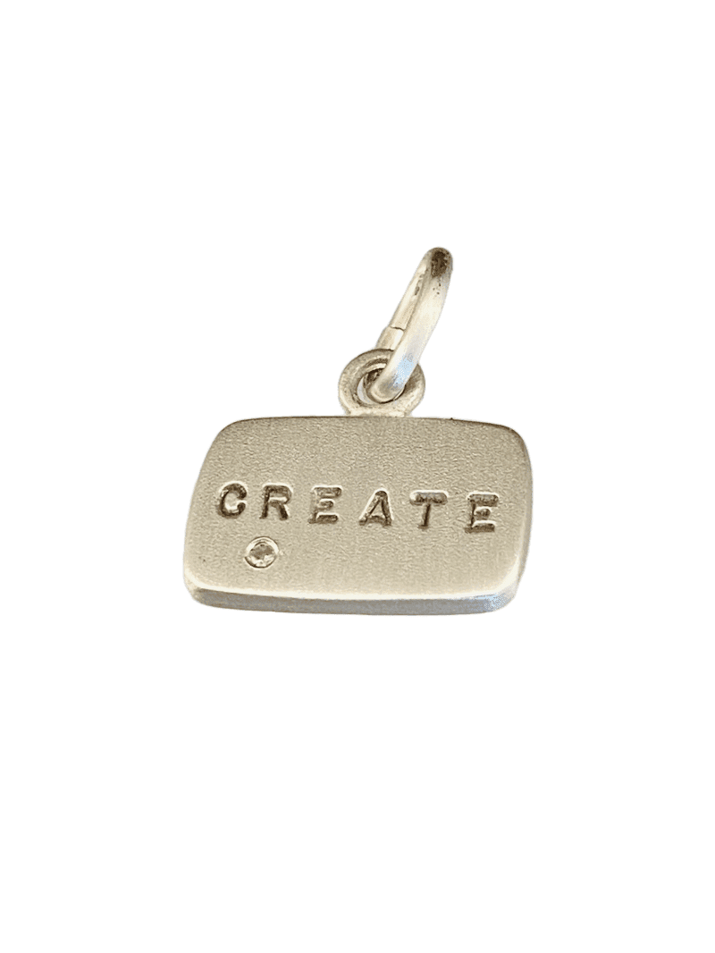 Sterling 'Create' Diamond Tag Charm