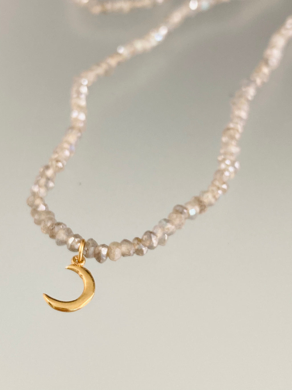 "16"" Labradorite bead and 14k Gold Crescent Moon Charm Necklace"
