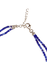 CZ Horseshoe Charm Double Strand Beaded Anklet Mixed Blues
