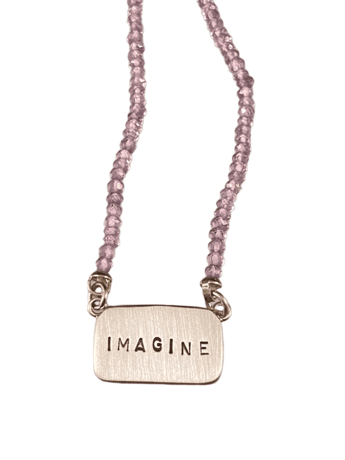 "16""-18"" Sterling Silver 'Imagine' Tag Necklace on Amethyst"