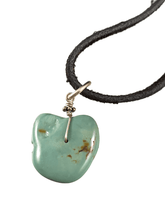 "16"" Turquoise Nugget on Black Suede Necklace"