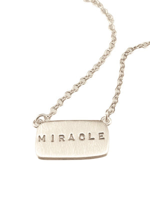"16"" Sterling Silver 'Miracle' Tag Necklace"