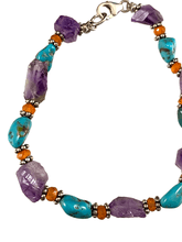 Amethyst and Turquoise Gemstone Bracelet