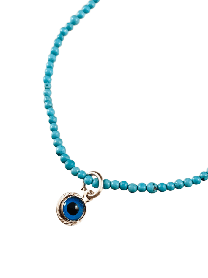 #1010 Faceted Delicate Bead Sterling Evil Eye Bracelet