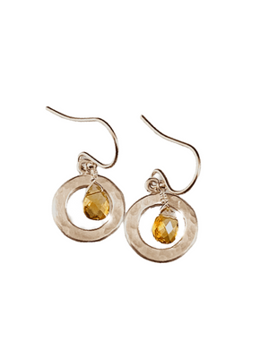 Citrine Briolette & Sterling Silver Circle Earrings