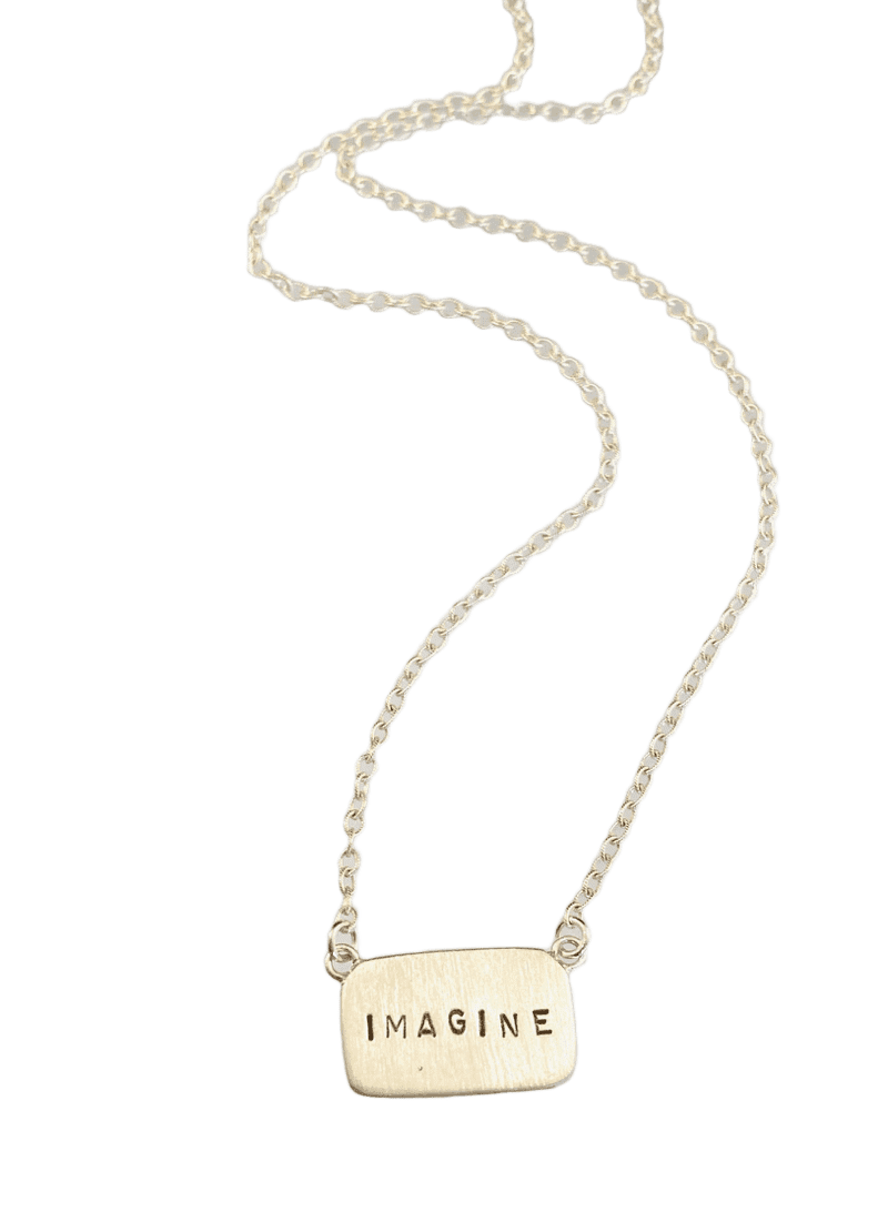 "16"" Sterling Silver 'Imagine' Tag Necklace"