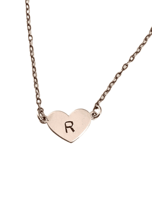 Sterling Silver Personalized Initial Heart Necklace