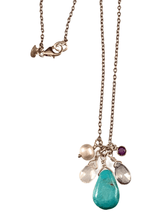 "16"" Turquoise Drop with Briolette and Amethyst Gem Charm Necklace"
