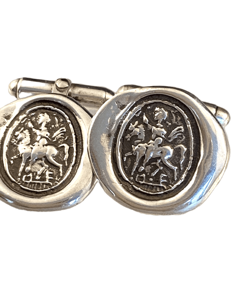 Sterling Silver St. George Cufflinks