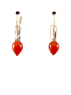 #233 Sterling Carnelian Tear Drop Earrings