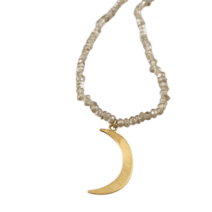 """18"""" 14k Gold Moon Necklace on Faceted Labradorite"""