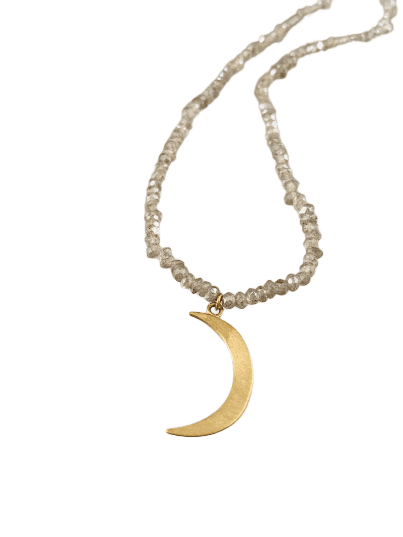 "18"" 14k Gold Moon Necklace on Faceted Labradorite"