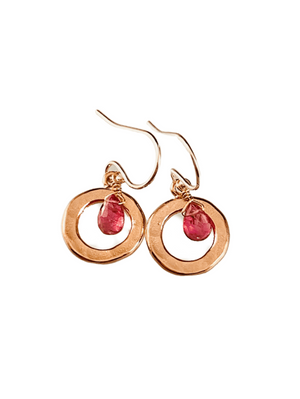Pink Tourmaline & Rose Gold Vermeil Circle Earrings
