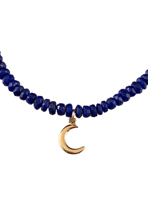 #1005 Faceted Lapis 14K Gold Delicate Crescent Moon Charm Bracelet