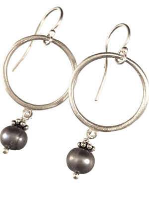 Sterling Circle and Gray Pearl Drop Earrings