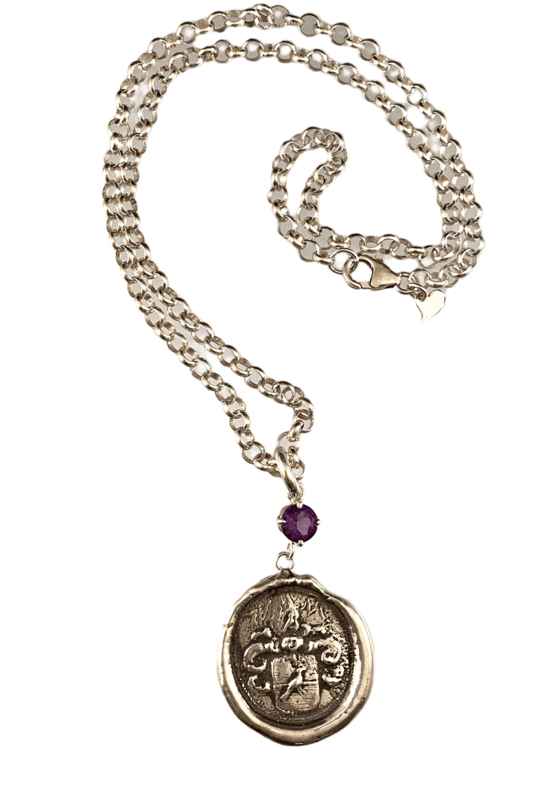 "18"" Sterling Silver Crest Engraved Bird Necklace with Amethyst"