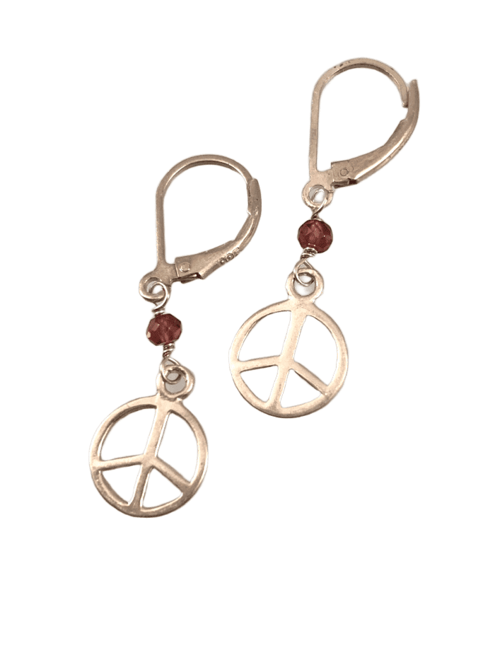 Sterling Silver Tiny Peace Sign Gem Earrings
