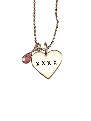Sterling Silver Heart Necklace with Pink Tourmaline