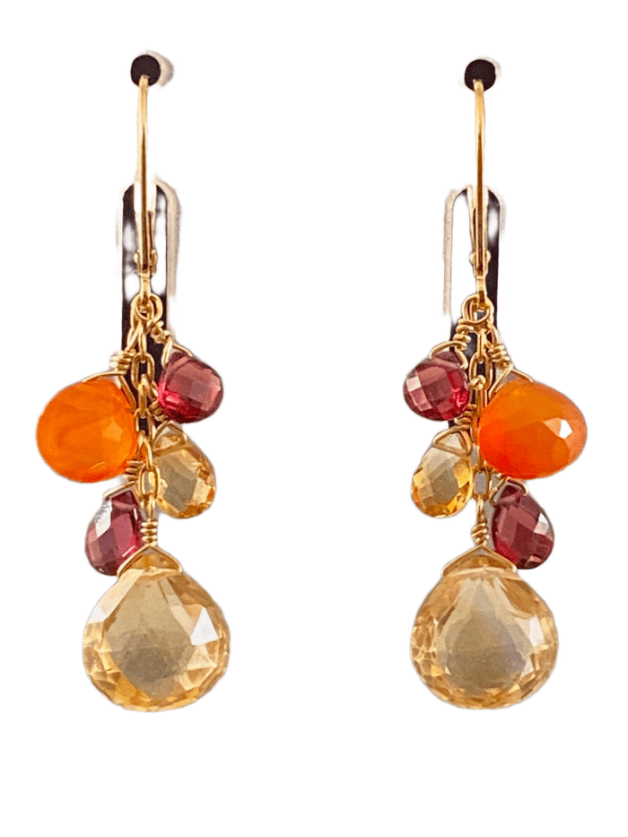 #223 Citrine Garnet Carnelian Yellow Gold Waterfall Gemstone Earrings