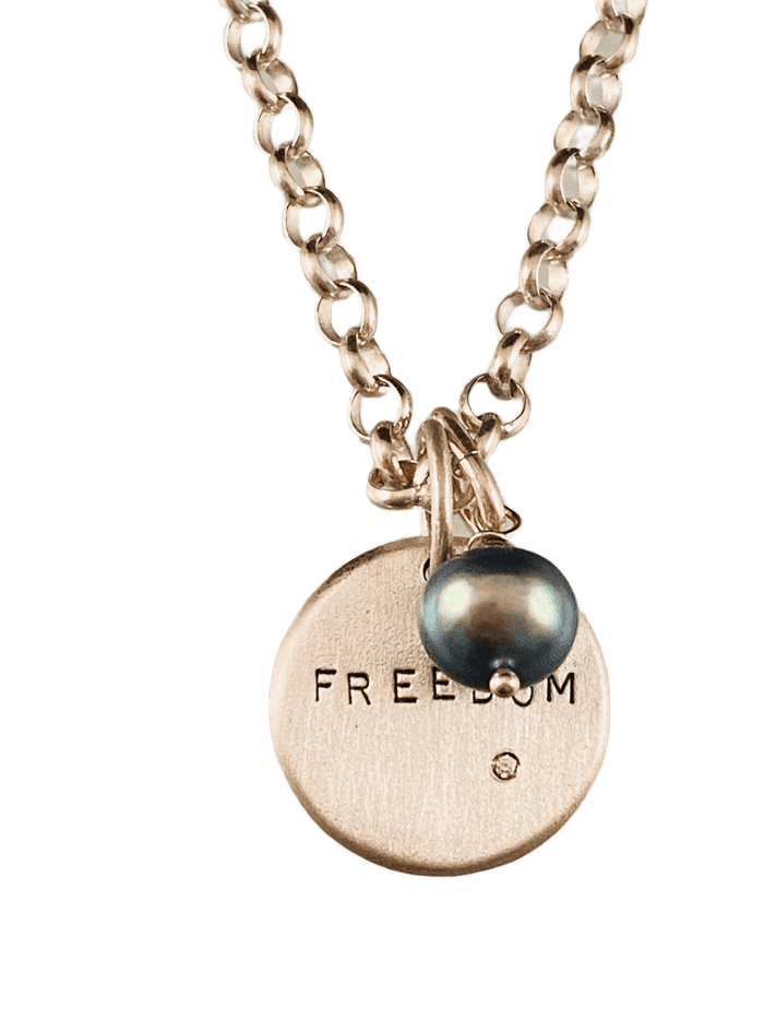 "#2010 16"" Sterling 'Freedom' Diamond & Grey Pearl Charm Necklace"