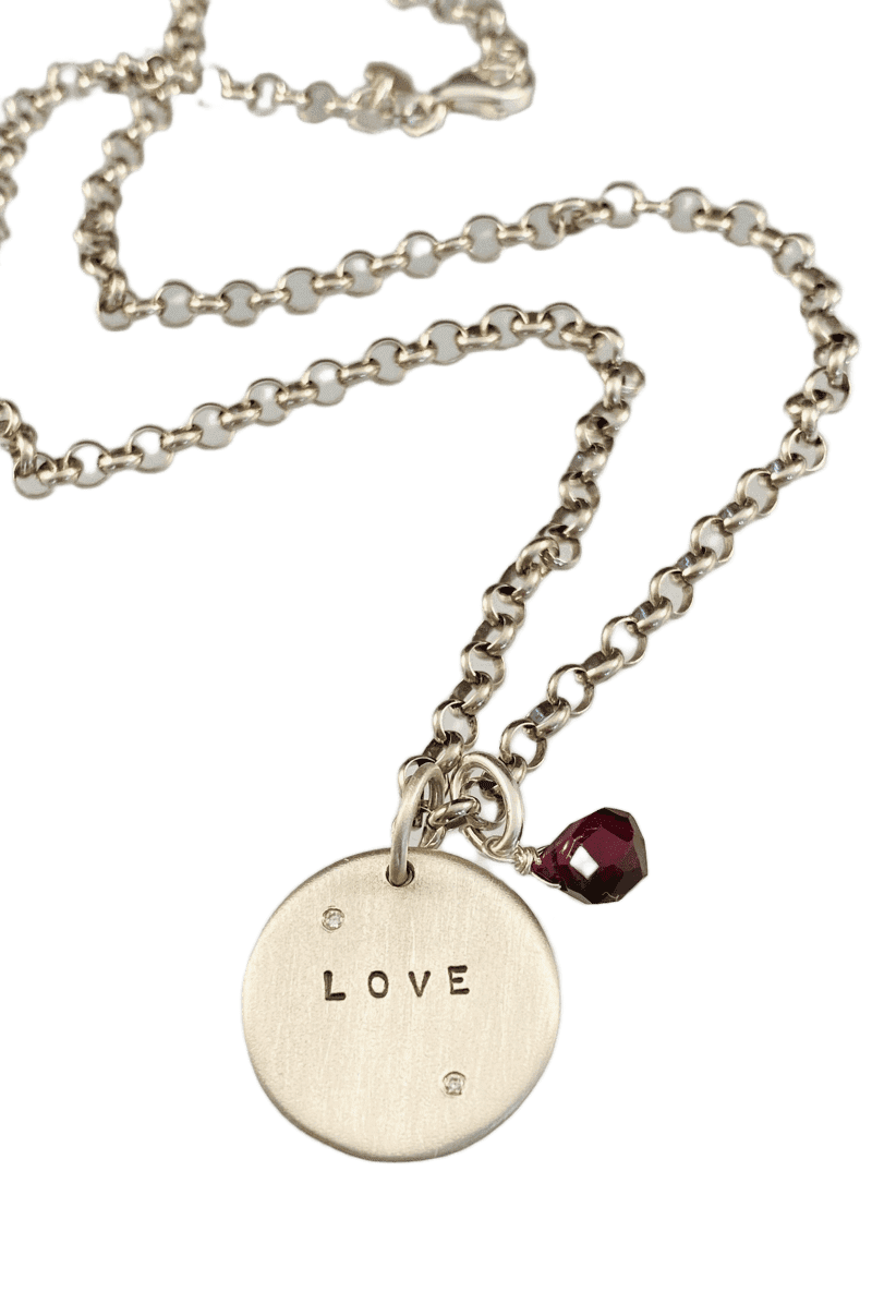 "18"" Sterling Love Diamond Charm Necklace with Garnet"