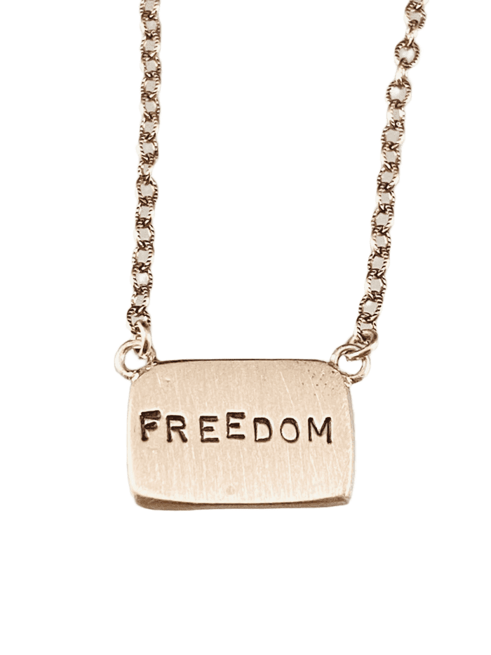 "16"" Sterling Silver 'Freedom' Tag Necklace"