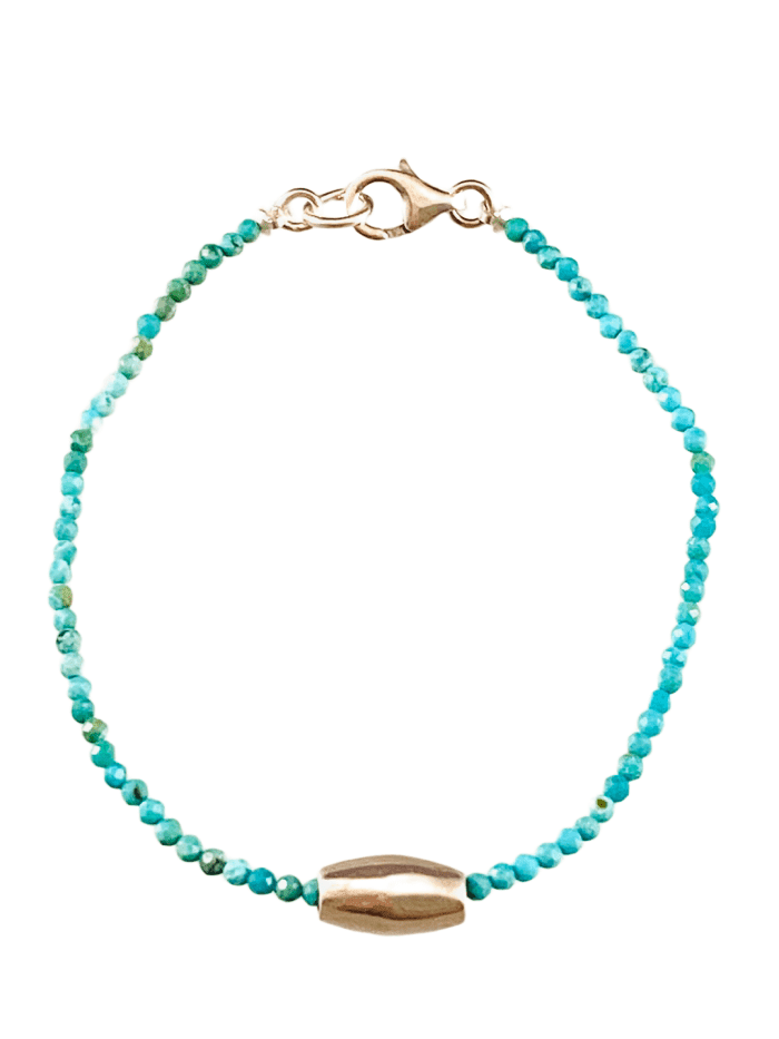 Faceted Turquoise Sliding Sterling Bead Bracelet