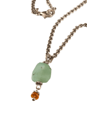 "#204 16"" Faceted Chrysoprase & Mexican Fire Opal Charm Necklace"